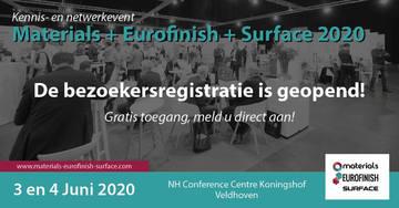 Bezoekersregistratie vakbeurs Materials+Eurofinish+Surface geopend